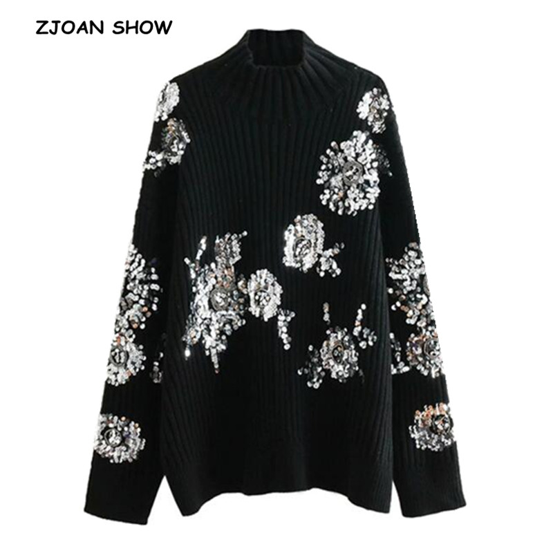 2018 New Winter Women Beading Sequins Flower Turtleneck Pullover Sweater Black Long Sleeve Loose Long Knitwear Jumper Tops