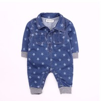 JOYHOPY Soft Denim Baby Romper Infant Clothes Star Newborn Jumpsuit Babies Boy Girls Costume Cowboy Fashion