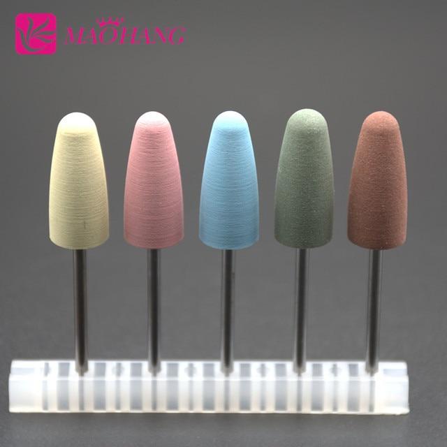 MAOHANG 5pcs/lot Rubber Silicone Nozzle Ceramic Milling Burr Nail Art Cutter Polishing Buffer Files Electric Machine Drill Bit