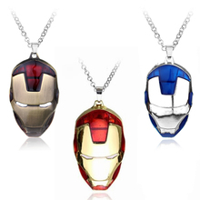 The Avengers Superhero Iron Man Mask Pendant Necklace Link Chain Men Boys personality collier Movie Jewelry