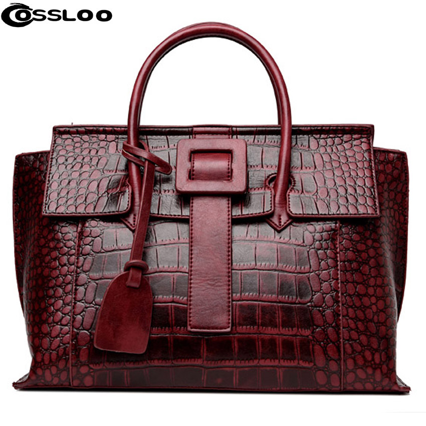 COSSLOO Women Bag 2018 crocodile alligator bags Women Famous Brands Luxury Designer Handbag Leather Tote Hand Bag bolsas mujer цена 2017