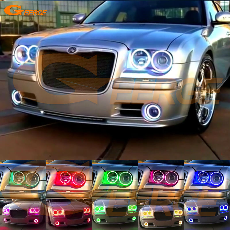 For Chrysler 300C 2004 2005 2007 2008 2009 2010 Excellent 6 pcs RGB Angel Eyes kit Multi-Color Ultrabright Angel Eyes Halo Rings for mitsubishi lancer 2008 2015 non projector excellent multi color ultrabright 7 colors rgb led angel eyes halo rings led light