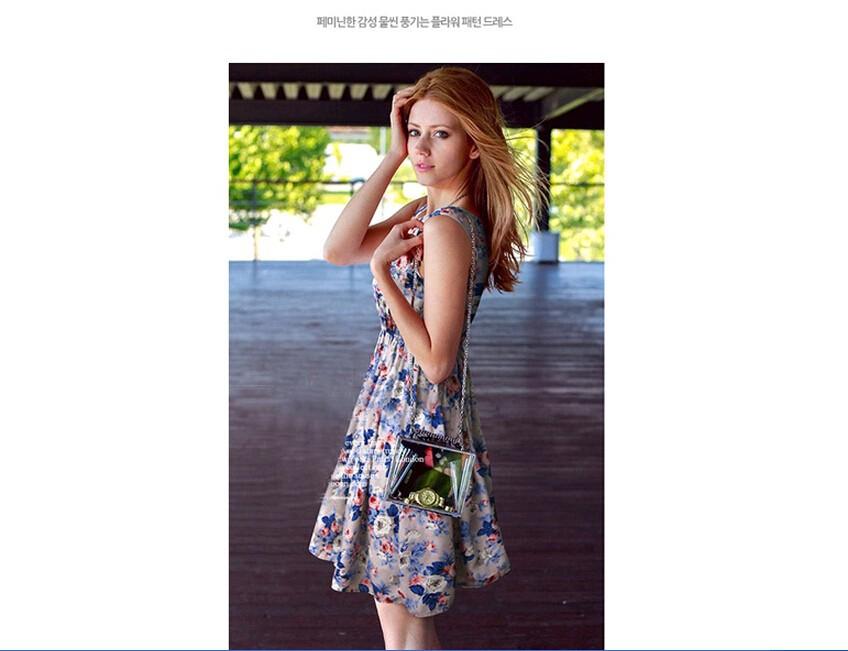 2017 lato jesień nowe koreańskie kobiety dorywczo czeski kamizelka bez rękawów lamparta kwiatów drukowane plaża chiffon dress vestidos wc0344 5