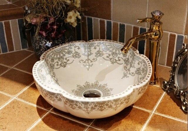 Arbeitsplatte Badezimmer | Europa Waschbecken Waschbecken Keramikbecken Waschbecken Jingdezhen