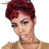 Я в синтетический парик короткие волосы парик прямые афроамериканец черный Искусственные парики для черный Для женщин