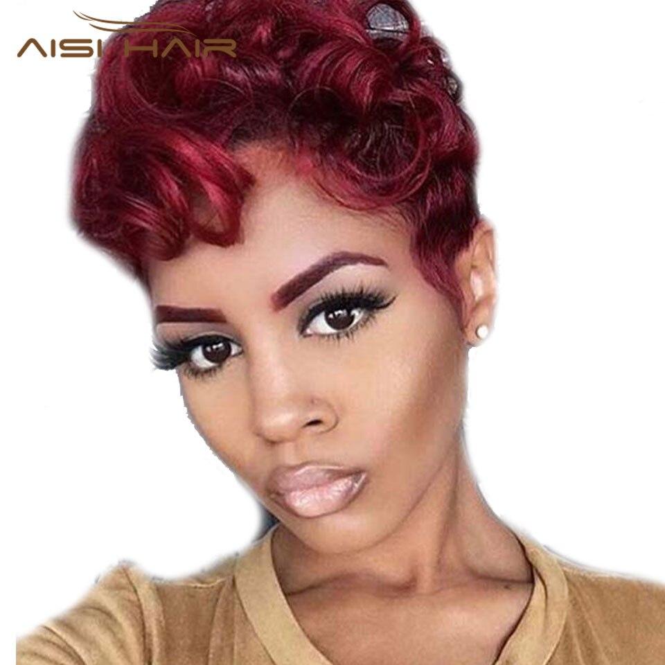 I 's một bộ tóc giả Tổng Hợp Ngắn Tóc Wig Straight Mỹ Gốc Phi Tóc Giả Màu Đen cho Phụ Nữ Da Đen