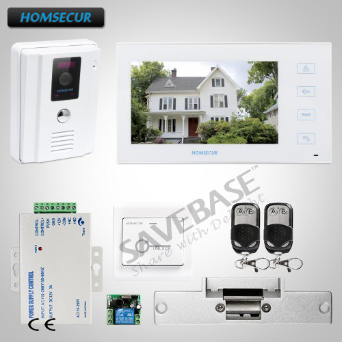 HOMSECUR 7 Wired Video&Audio Home Intercom Electric Strike Lock Set Included for Home Security