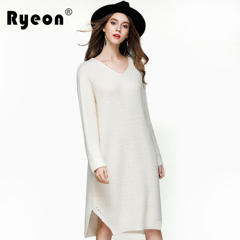 Ryeon Over Sized Sweater Dresses Big Size Women Autumn Winter Spring Sexy V Neck Long Sleeve Loose A Line Casual Knitted Dresses