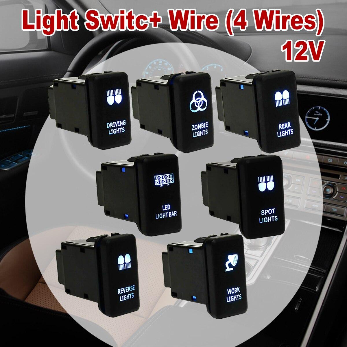 12V Car 4 Wiring Blue LED Light Bar Switch On/Off For Toyota ...