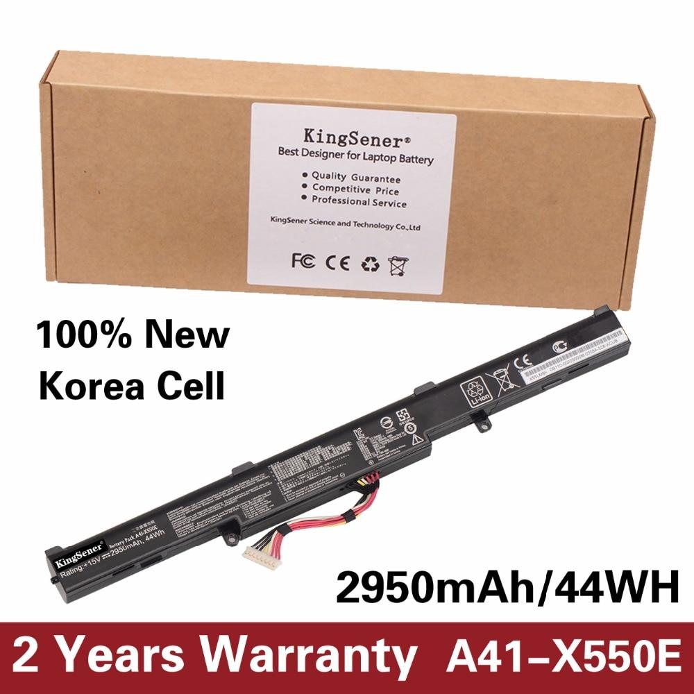 KingSener Korea Cell New Laptop Battery A41-X550E for ASUS X450 X450E X450J X450JF X751L A450J A450JF A450E F450E 15V 2950mAh 15v 2950mah 4cell battery for asus laptop a41 k56 a32 k56 k46 k46c k46ca k46cm k56 k56ca k56cm new and original li ion battery