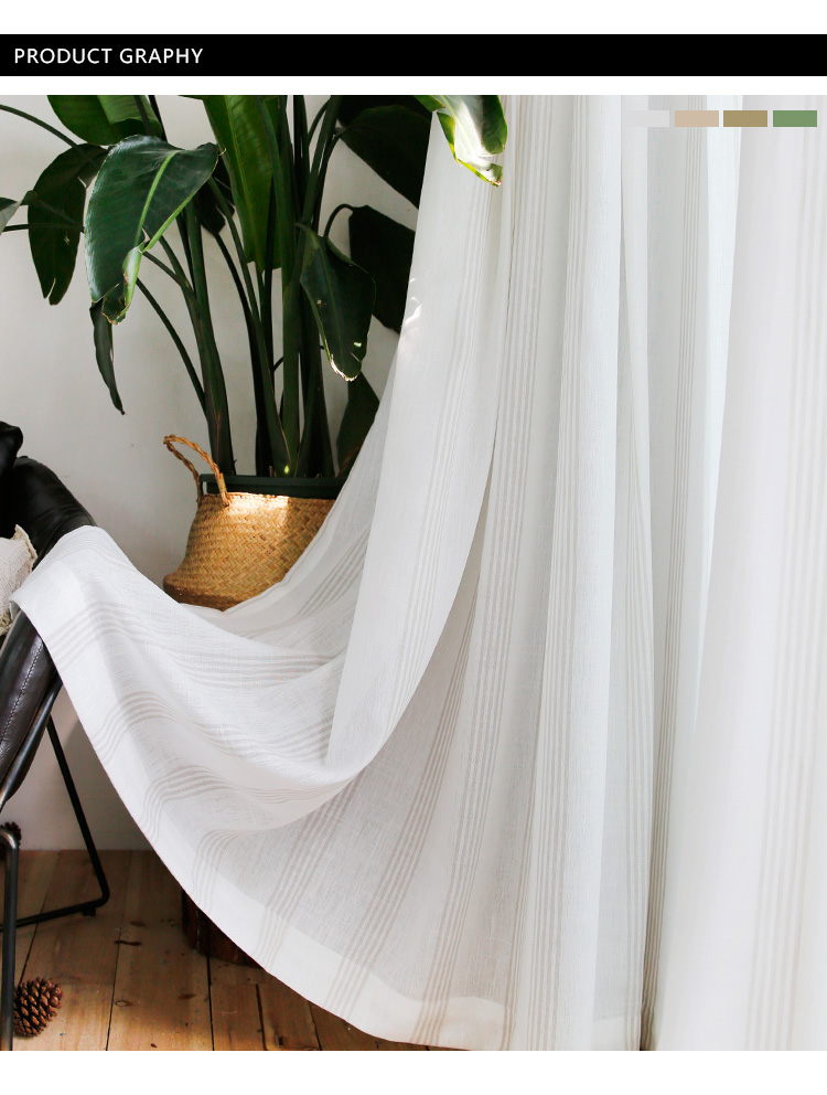 _04 White Tulle Curtains For Livingroom Striped Voile