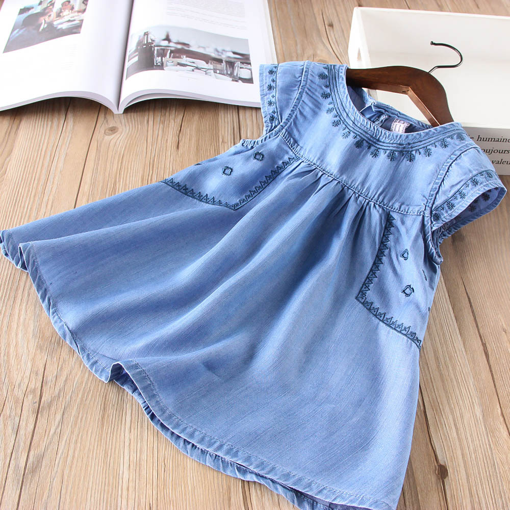 Hurave 2018 New baby Girl clothes Summer fly sleeve denim dress Kids Clothes Casual embroidery princess cotton dresses 2pcs children outfit clothes kids baby girl off shoulder cotton ruffled sleeve tops striped t shirt blue denim jeans sunsuit set