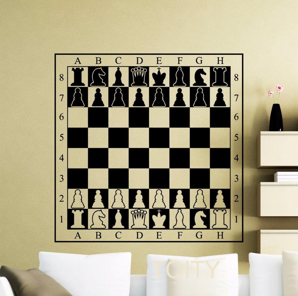 Chessboard decal chessmen checkerboard wall vinyl table for Wall stickers for bedrooms interior design