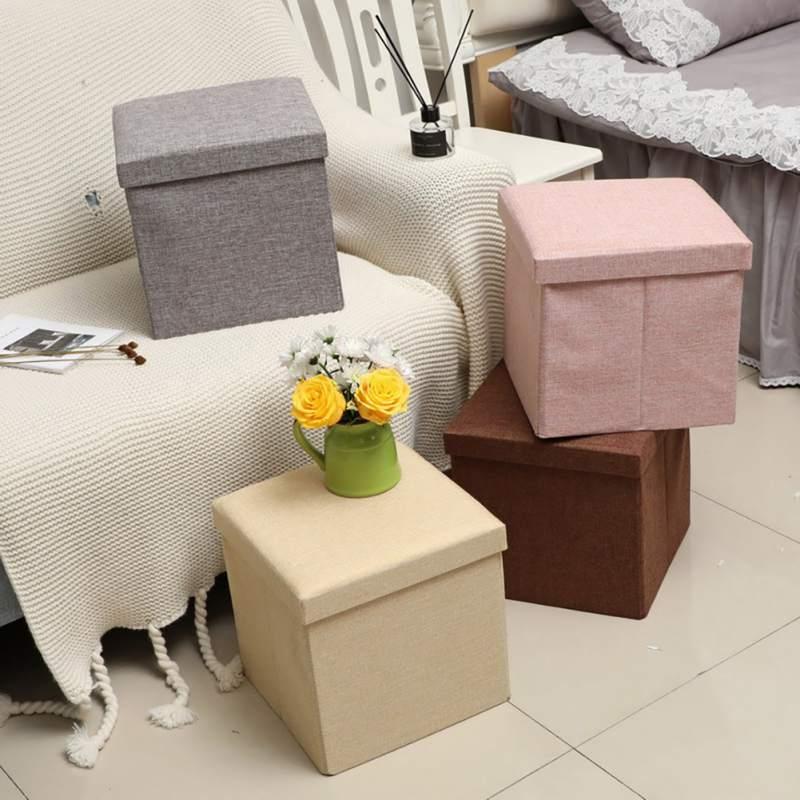 30*30*30CM couleur Pure Imitation lin boîte de rangement en carton, 2 en 1 usage domestique boîte d'organisation et tabouret