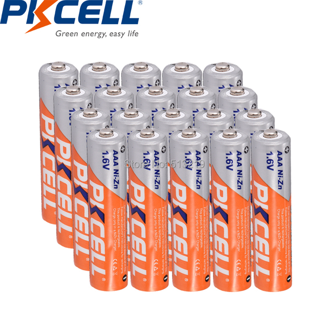 20 adet PKCELL 1.6v NI ZN AAA pil 3a 900mWh AAA şarj edilebilir piller NIZN şarj batteria el feneri uzaktan kumanda