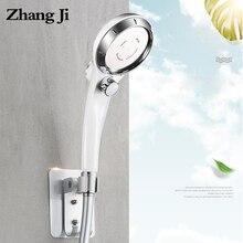 ZhangJi water saving spray Handheld shower Pressure Stepless Adjustment with button head 1.5 meter PVC hose holder