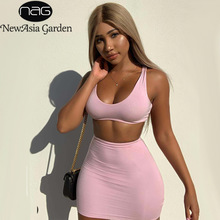 NewAsia Double Layers Pink Two Piece Set Summer Clothes For Women Outfits Sexy Short Skirt Casual 2 2019