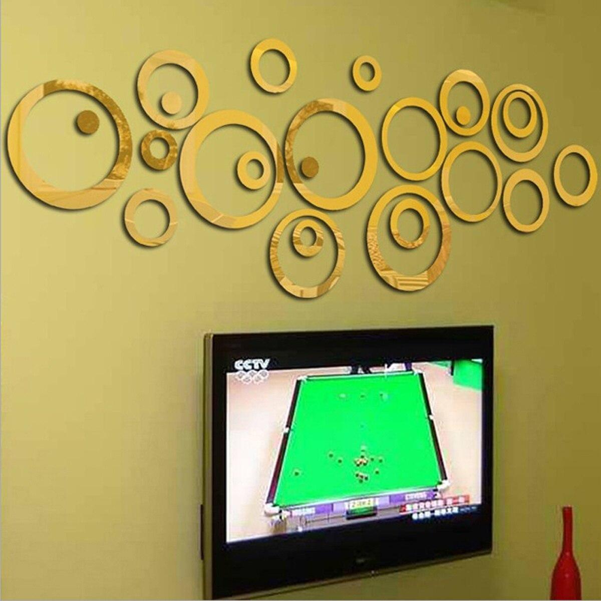 24pcs/Set Removable 3D Modern Mirror Effect Wall Sticker Circle Ring ...
