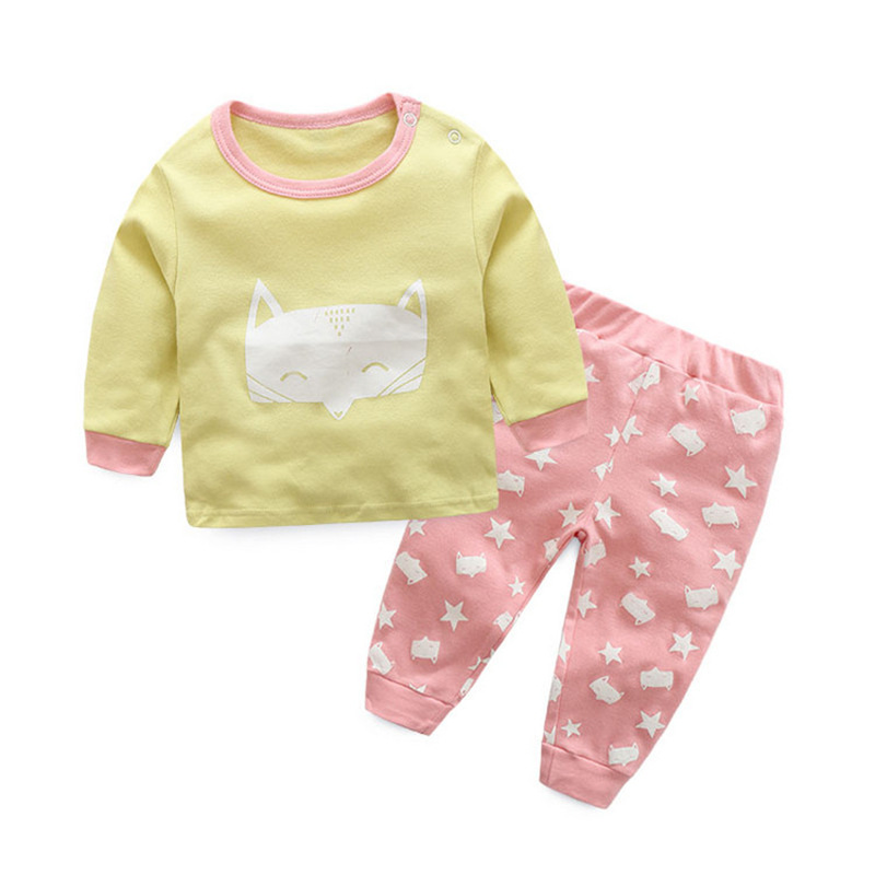 2017 New Spring Autumn cotton Baby's Sets Cartoon Baby girls Clothes WKD01-WKD13 new girls sets 2018 spring autumn baby