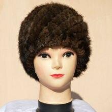Настоящая норка Вязаная Зимняя женская мода fringe теплый меховая шапка Гарантировано 100% натуральный мех с черный эластичный вязать ананас cap