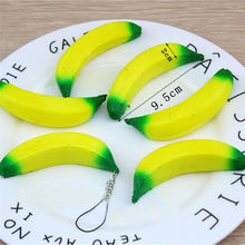 Jumbo Banana Squeeze Anti-stress Squishy Slow Rising Toy Stress Relief Kawaii Phone Charms Straps Keychain(China)