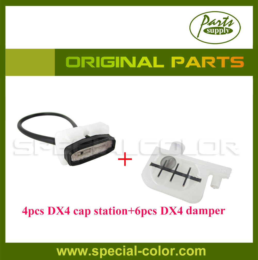 4pcs Original Japan Cap Station for DX4 Solvent Printhead with 6pcs DX4 Small Damper for Roland FJ740/RS640/XC540 roland rs640 vp540 300 parts 1pc dx4 solvent printhead dx4 scan motor eco solvent big damper with dx4 head manifold