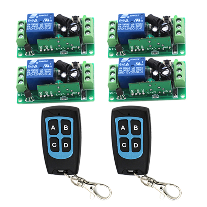 4 in 1 1 Channel 12V Wireless Remote Control Switch Relay 2 Controller 4 Receiver Learning code 315MHz 3421 v2 replacement remote control transmitter 433mhz rolling code top quality page 5