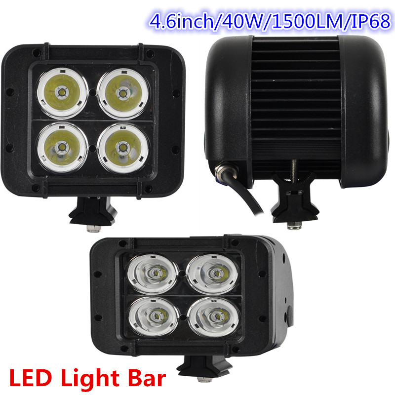 ФОТО Lantsun one piece LED8D-40W  DC10-30V waterproof 4.6inch 2 rows 40W offroad led light bar for offroad auto 4x4 4WD truck