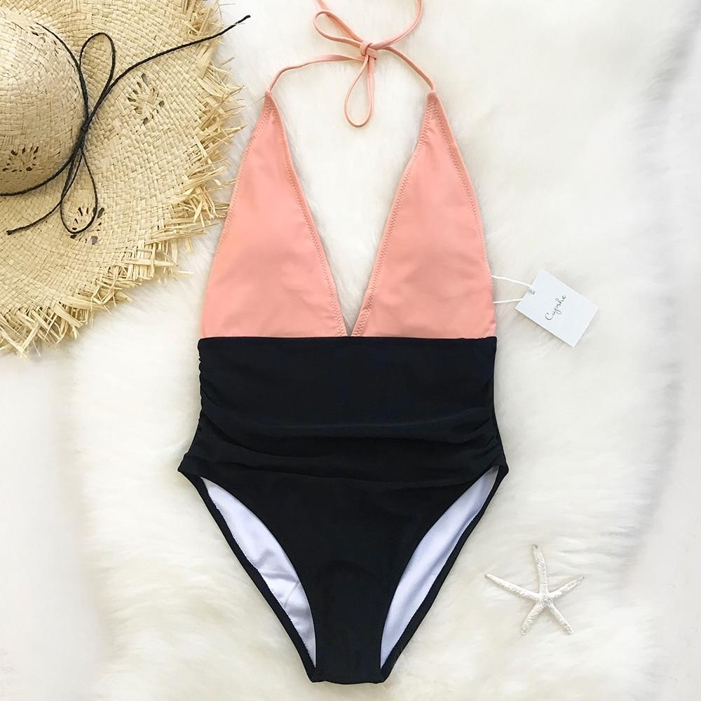 CUPSHE Fragrant Memory Halter One-Piece Swimwear Women Deep V neck Backless Monokini 2018 Girl Beach Bathing Suits Swimsuits