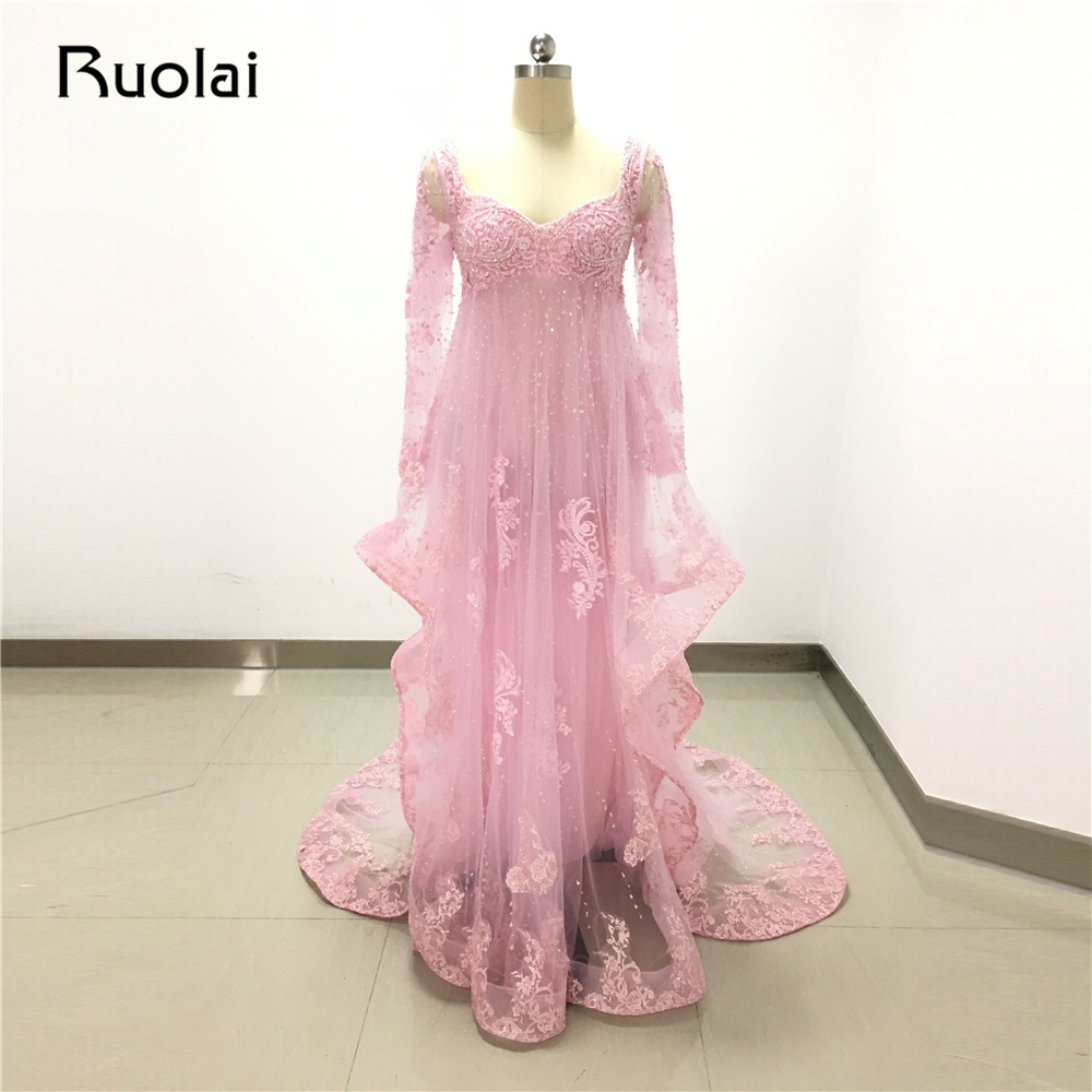 Real Picture Luxury Beaded A-Line Sweetheart Pink   Evening     Dresses   Long Prom   Dress   Full Sleeeves Formal Party Gown FE37