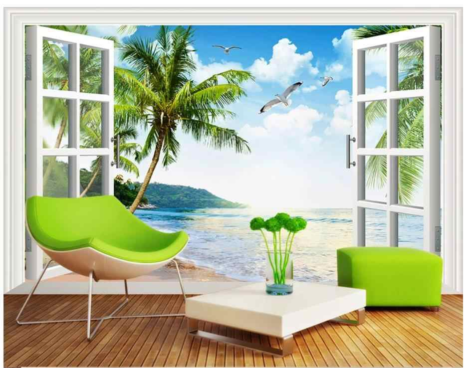 Sea window scenery background wall 3D background painting beach curtains natural 3d wallpapers