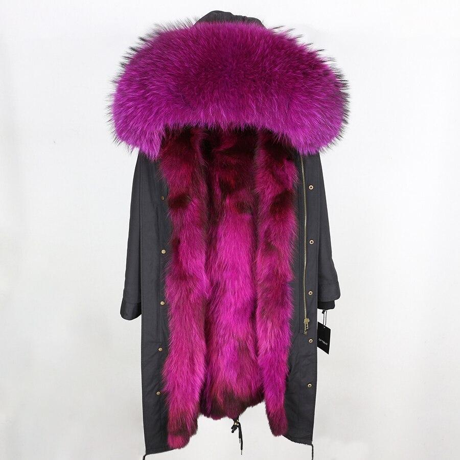 2019 Real Fur Coat Winter Jacket Women Long Parka Waterproof Big Natural Raccoon Fur Collar Hood Thick Warm Real Fox Fur Liner 119