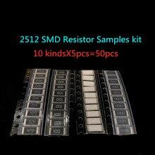 50 Uds de aleación de resistencia kit 2512 SMD kit de muestras de resistencia 10 kindsX5 Uds = 50 Uds R001 R002 R005 R008 R010 R015 R020 R025 R050 R100