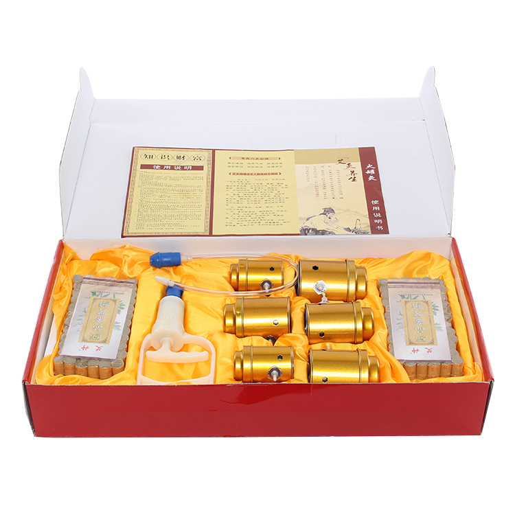 6pcs Pure Copper Big Size vacuum Cupping Body Moxibustion Magnetotherapy Traditional moxibustion health care+100pcs Moxa sticks wholesale and retail big size high quality pure copper health beauty moxa box