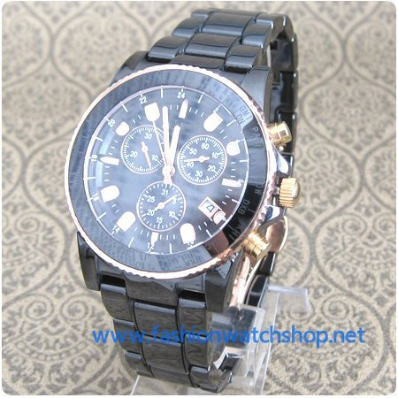 New Rose Gold Fashion Black Ceramic Sapphire Crystal Chronograph Men's Quartz Watch 6zhen