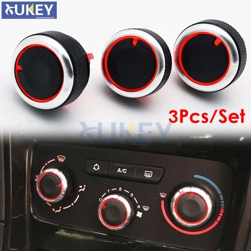 3Pcs Fit For PEUGEOT 307 CITROEN C-TRIOMPHE Switch Knob Heater Climate Control Buttons Dials Frame AC Air Con Cover Caps