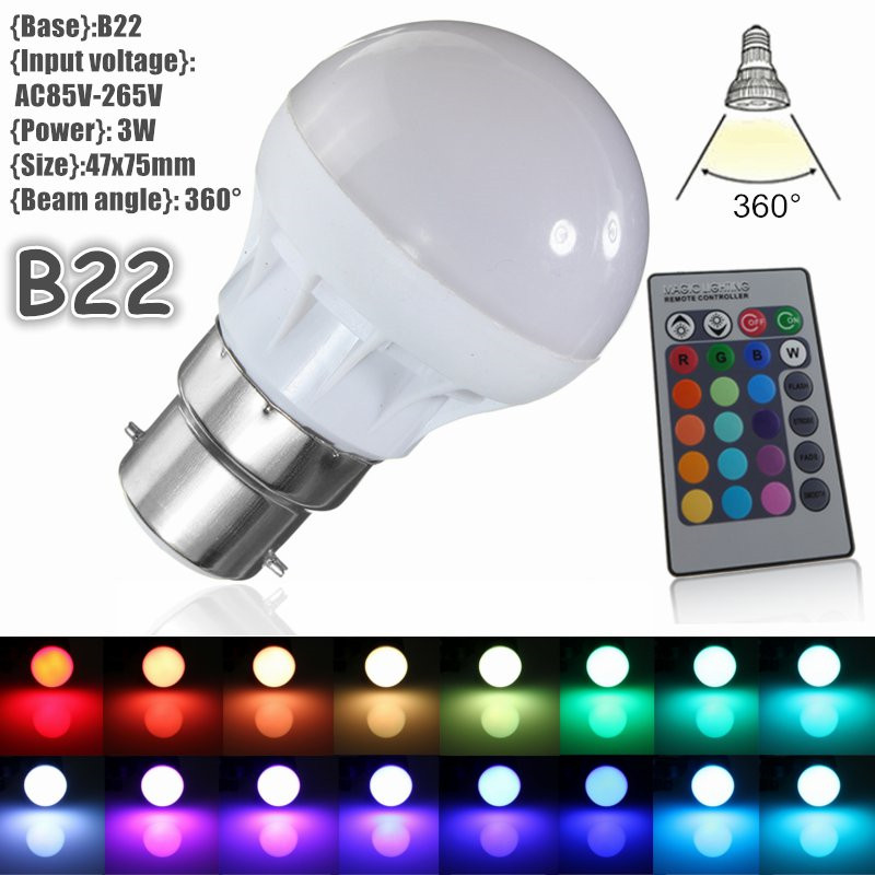 3W RGB LED Light Globe Bulb B22 5050SMD Energy Saving Lamp Spotlight Bulb 16 Colors Changing Decor Lighting AC85-265V