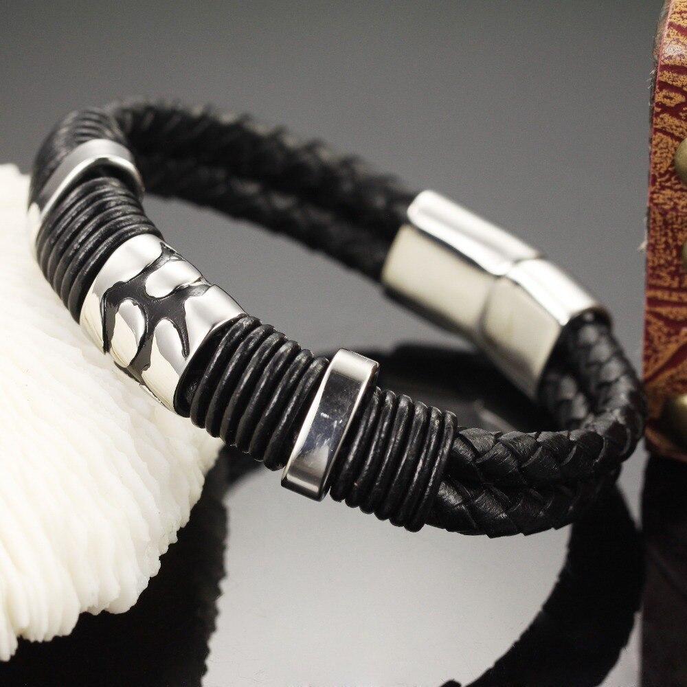 Online Shop Trustylan Cool Black Genuine Leather Bracelet Men Fashion  Jewelry Vintage Bracelet & Bangles Brand New Men's Wrap Bracelet   Aliexpress Mobile