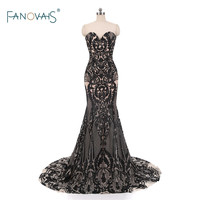 Real Photo Sexy Evening Dresses 2017 Sweetheart Sequin Lace Mermaid Prom Dresses Long Vestido De Fiesta