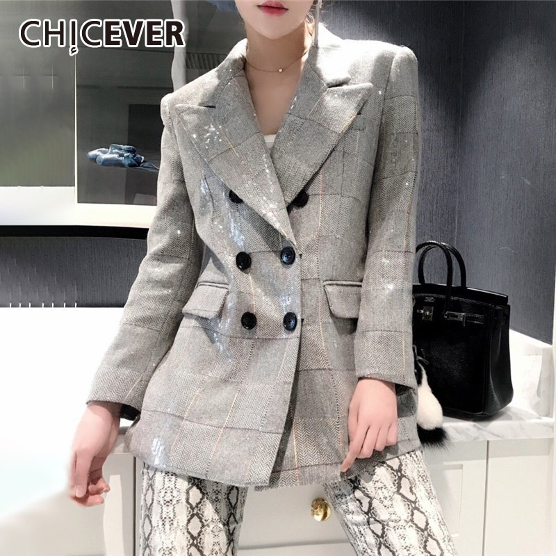 CHICEVER Autumn Women's Blazer Notched Collar Long Sleeve Button Sequin Plaid Coats Clothing Female Fashion New 2019 Korean(China)
