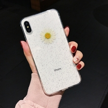 Tfshining Real Dried Flower Phone Cases For On iPhone X XR XS Max 6 6S 7 8 Plus Handmade Pressed Daisy Floral Glitter Soft Cover