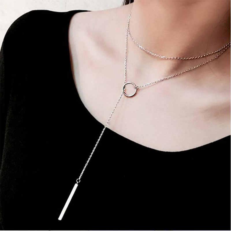 80cm 925 Sterling Silber Pullover Kette Halskette Kreis Streifen Lange Halskette Für Frauen Geschenk collares S-N51