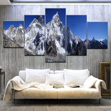 5 Panel HD Print The Snow mountain blue sky Landscape wall posters Canvas Art Painting For home living room decoration
