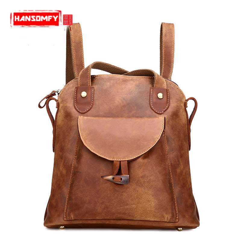 The new retro crazy horse skin Leather Women backpacks fashion female shoulder Bags Genuine leather package tide brown backpack aetoo the new retro mad horse skin backpack fashion shoulder shoulder leather package tide package