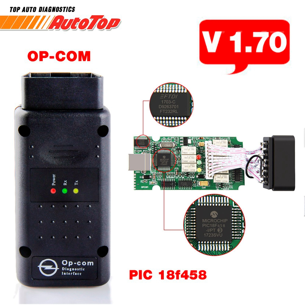 2017 OBD2 OBD 2 OPCOM V1.70 mit PIC18F458 OP-COM für Opel OP COM für Opel Auto-diagnosewerkzeug V1.7 Freie Software Autoscanner