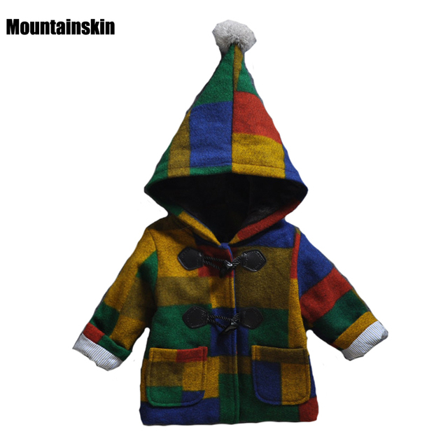 2017 Fashion Kids Wool Jackets Warm Thick Boys Girls Cotton Coats Winter 1-4Y Children's Brand Trend Hooded Outerwear SC737