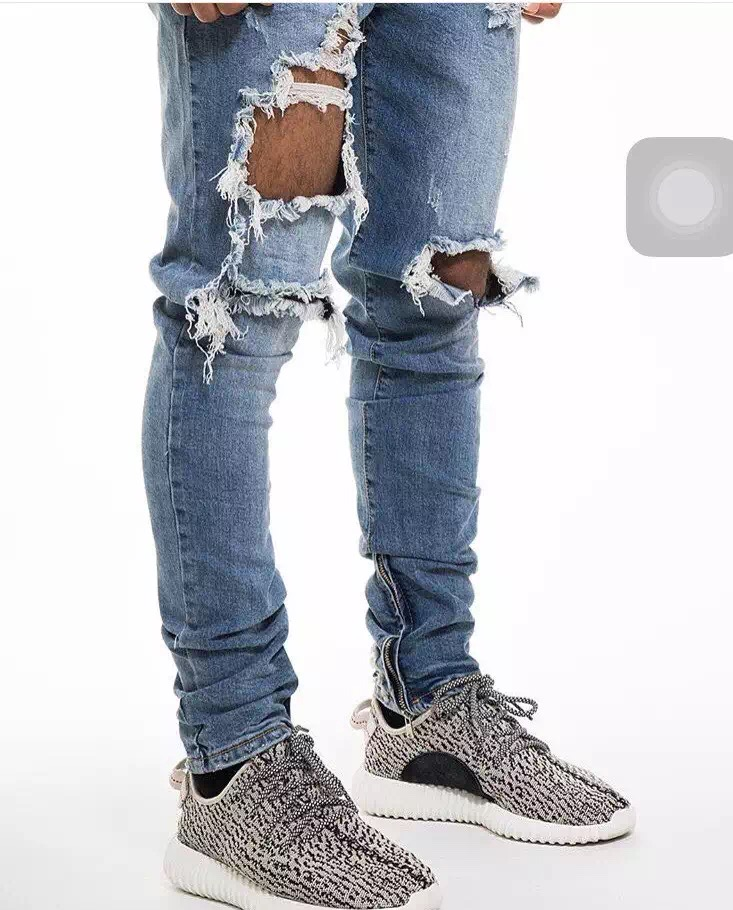 ФОТО Kpop Clothing Biker Jeans Kanye West Slim Fit Ankle Zipper Design Ripped Holes Stretch Denim Jeans