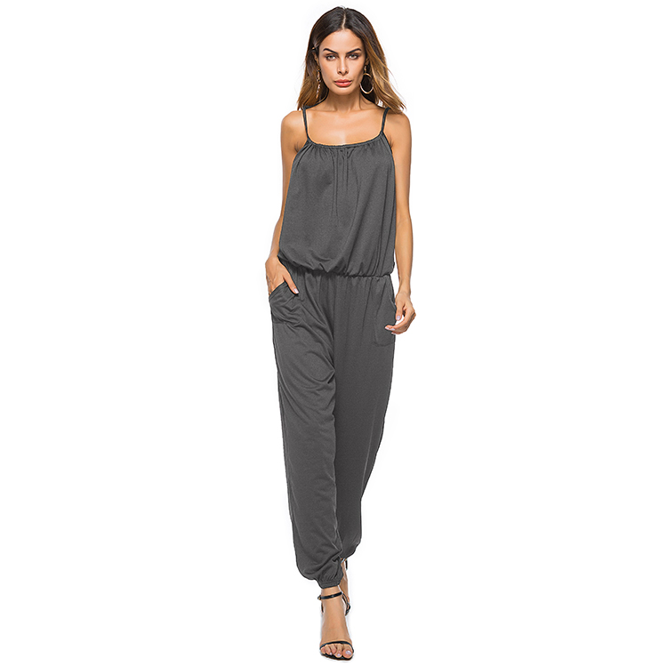 BAMBOOBOY New Casual Spaghetti Strap Women Rompers And Jumpsuits Plus Size Black Grey Long Overalls Bodysuit