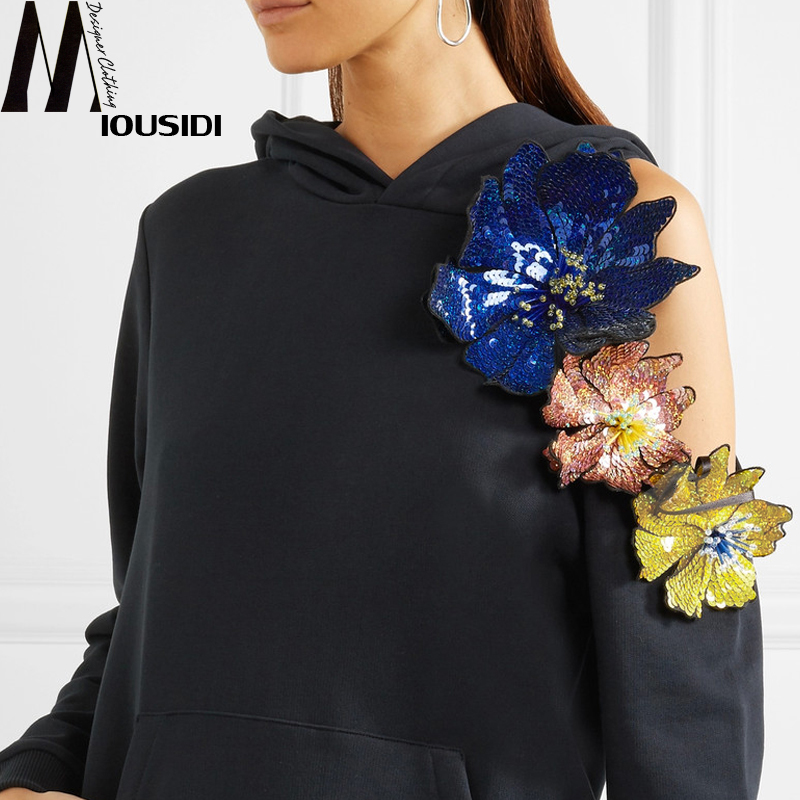 Новинка; сезон весна; 18; Асимметричный свободный свитер с вышивкой из бисера без бретелек; толстовка с капюшоном и цветами - 2