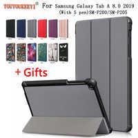 3-plié Couverture Debout étui pour samsung Onglet SM-P200 SM-P205 2019 Funda Capa 8 pouces Magnétique étui pour samsung Galaxy Tab A 8.0